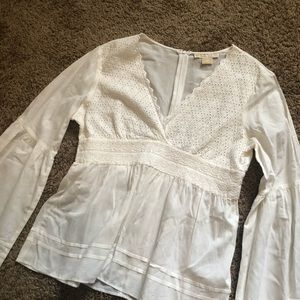 MICHAEL KORS White Cotton Embroidered Top